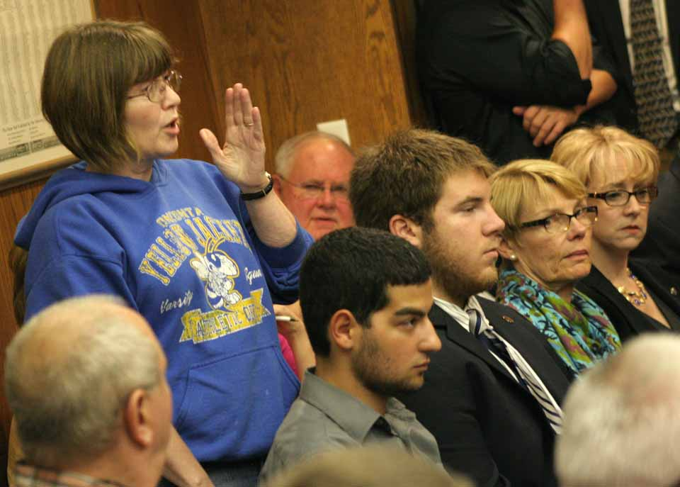 At tonight's stormy Oneonta Common Council meeting on student rowdiness, Kathleen Hays, Clinton Street, had plenty of personal stories to tell of students around her house, yelling, urinating, vomiting and peering in her windows.   For a full report, see this week's Hometown Oneonta, on newsstands Wednesday afternoon.  (Ian Austin/AllOTSEGO.com)