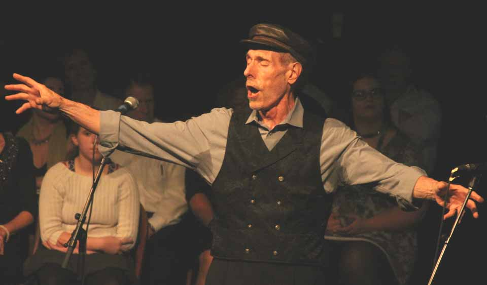 """Steve Markusen reprises a crowd-pleaser, """"If I Were A Rich Man"""" from """"Fiddler on the Roof,"""" at Orpheus Theatre's 30-anniversary celebration Saturday at the Oneonta Theater.  Hits from past hits were performed before an almost-sellout crowd in the balcony theater. For a look at Orpheus' three decades, see the upcoming edition of Hometown Oneonta.  (Jim Kevlin/AllOTSEGO.com)"""