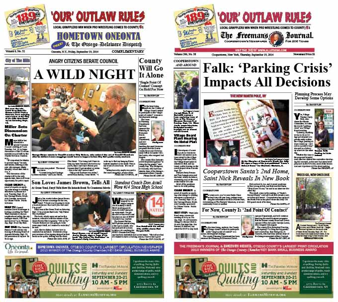 """This week's edition of Hometown Oneonta reports on Tuesday's stormy Common Council meeting on student rowdiness.  In The Freeman's Journal, Cooperstown Village Trustee, chair of the Streets Committee, is interviewed on """"the parking crisis"""" and what to do about it."""