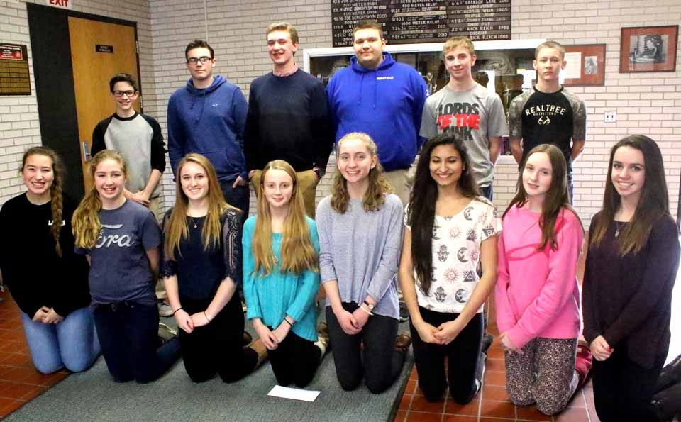 Cooperstown High School Principal Mike Cring has chosen Sportsmanship Award winners for winter sports. Front row, from left, are Lauren Lionetti, cheerleading; Abby Ford, modified girls basketball; Maggie Schuermann, varsity girls basketball; Tess DiLorenzo, modified volleyball; Matilda Francis, JV volleyball; Amber Genova, varsity volleyball; Faith Logue, modified girls basketball; and Kate Trosset, girls JV basketball. Back row, from left, Ryan Lansing, modified boys basketball; Skyler Taylor, bowling; Keith Barlow, JV boys basketball; Chad Carr, boys varsity basektball; Will Harloff, boys swimming; Logan Kantor, modified wrewstling. Missing from the photo was Jasmine Martinez, wrestling. (AllOTSEGO.com photo)