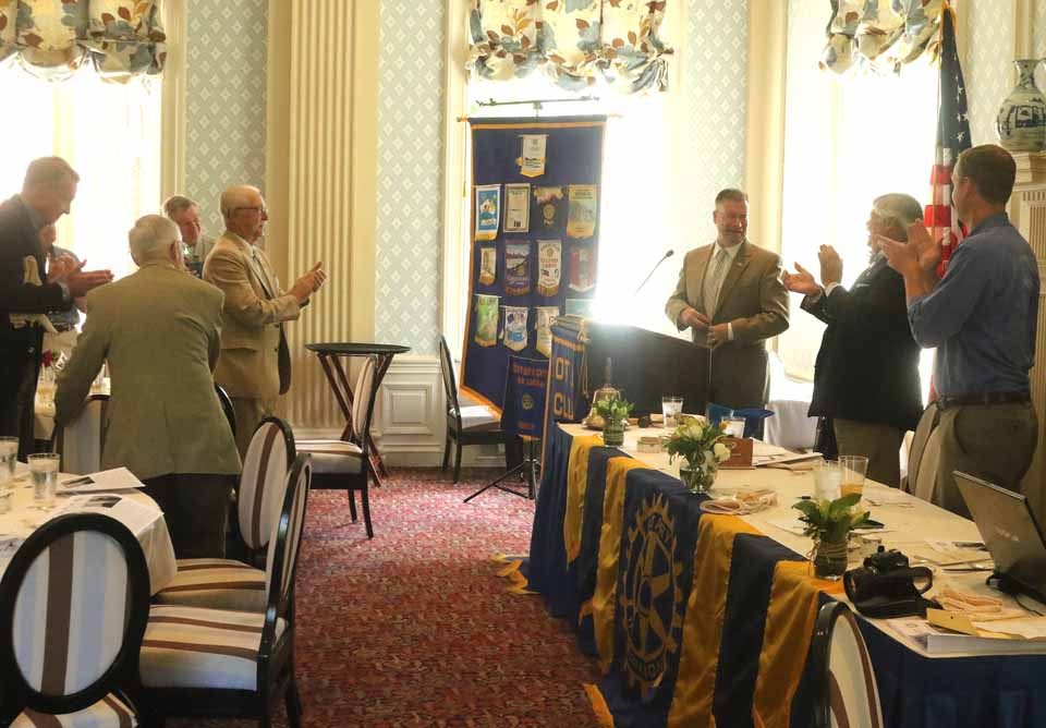 U.S. Rep. Chris Gibson, R-19th, receives a standing ovation from the Cooperstown Rotary Club today. (Jim Kevlin/AllOTSEGO.com)