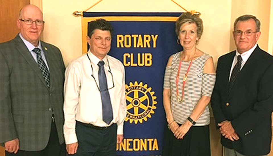 Opportunities for Otsego President Dan Maskin, second from left, was installed as president of the Oneonta Rotary Club for the 2016-17 year at the annual Pass The Gavel Dinner Thursday, June 23, at the Oneonta Elks. The Rotary's administrative year begins tomorrow, July 1. Others, from left are, David Mattice, Chesser Realty, 2017-18 president elect; outgoing president Dave Rowley, the retired school superintendent, and Cindy Struckle, ONC BOCES data manager, 2018-19 president elect.