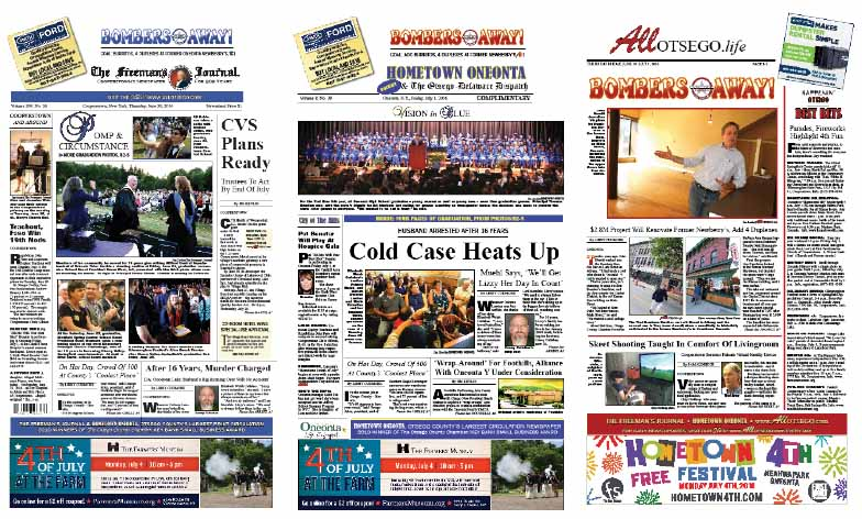 This week's Hometown Oneonta features four pages of OHS graduation and prom photos, plus a listing of the Class of 2014. The Freeman's Journal features photos from Cooperstown, Milford, Cherry Valley and Richfield Springs central schools, plus lists of graduates. Exclusive coverage in this week's AllOTSEGO newspapers.