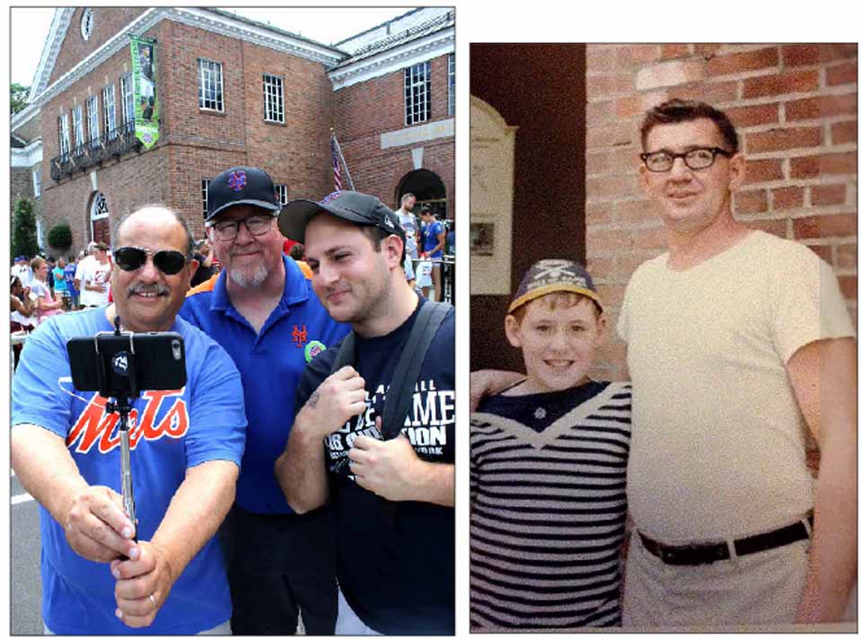 John Beaumier of Edison, N.J., in center of left-hand, was at the Baseball Hall of Fame this morning for the first time in 50 years, since dad Gaston, in right photo with his son, brought John when he was a boy. Commemorating the event with a selfie was John's friend Paul Messina, also of New Jersey, and his son Rob. (Jim Kevlin/AllOTSEGO.com)