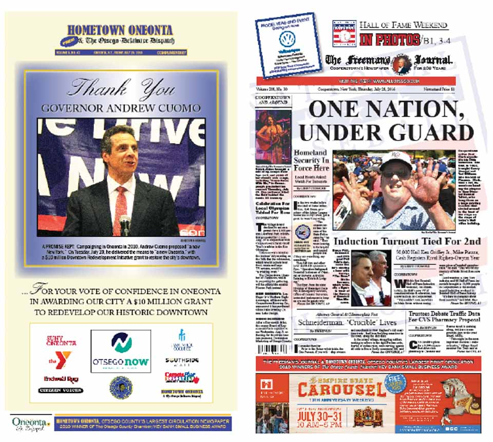 """How much good economic news can we stand? Plenty, judging from this week's editions. The front page of Hometown Oneonta is a poster celebrating Governor Cuomo's choice of Oneonta as recipients of a $10 million Downtown Revitalization grant, an award aimed at nudging the City of the Hills over the """"tipping point"""" to renewed prosperity. The Freeman's Journal records the good economic news from the huge, just-completed Inductions of Ken Griffey Jr. and Mike Piazza, which brought the second-largest crowd – an estimated 50,000 – to the county last weekend. Plus, photo after photo of local people enjoying all that Induction Weekend has to offer."""