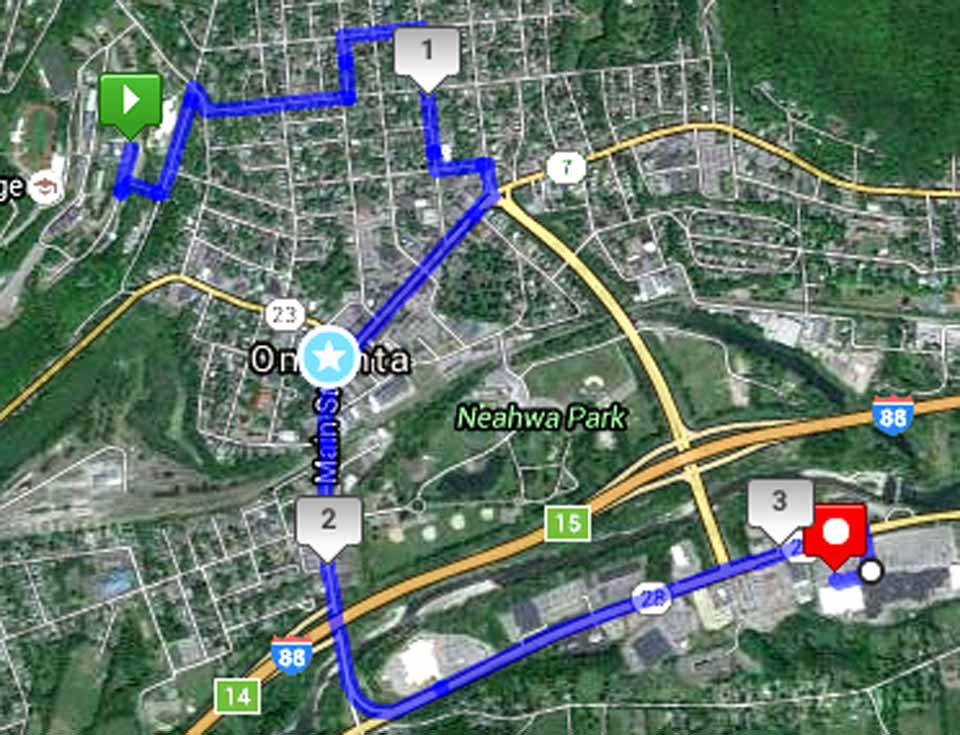Here's the route OPT buses will take next Sunday to introduce Hartwick College students to their new community, culminating with an ice-cream social and movie at Southside Makk.