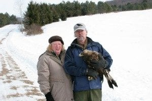 Tom Salo with wife Jo and raptor.